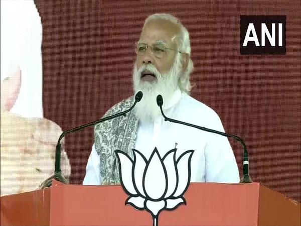 Prime Minister Narendra Modi addressing a public rally in Haldia, West Bengal. (Photo/ANI)