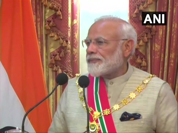 Prime Minister Narendra Modi addressing the gathering after receiving the Nishan Izzuddeen medal in Maldives on Saturday (Photo/ANI)