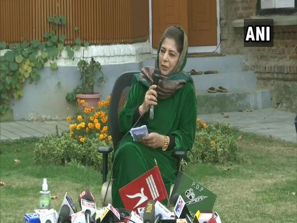 PDP chief Mehbooba Mufti addressing a press conference in Srinagar on Friday.