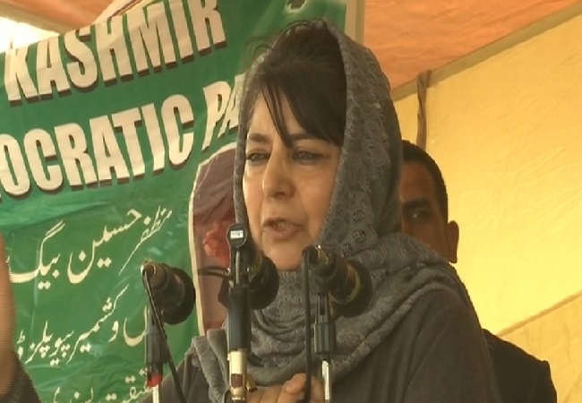 PDP president and former Chief Minister of Jammu and Kashmir Mehbooba Mufti speaking at a rally in Baramulla (Photo/ANI)
