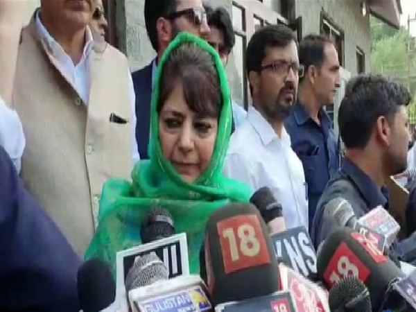 PDP leader Mehbooba Mufti speaking to reporters in Baramulla on Friday. Photo/ANI