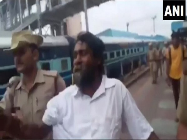 Environmental Activist T Mugilan detained by state police at Tirupati railway station on Saturday (Photo/ANI)