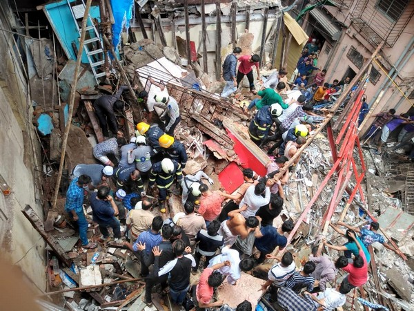 Visuals from the site of building collapse in Mumbai on Tuesday. Photo/ANI