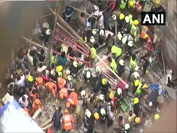 Earlier visuals of the building collapse in Mumbai on Tuesday. Photo/ANI