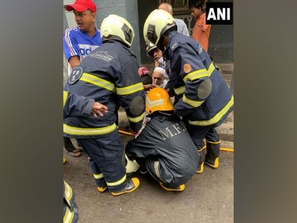Mumbai Fire Brigade team onsite during the fire-fighting operation on Sunday. Photo/ANI