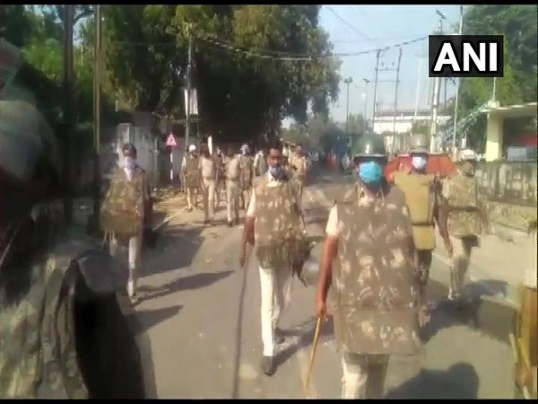 A visual from the flag march conducted by police in Munger, Bihar on Thursday. (Photo/ANI)