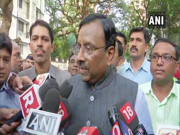 BJP MLA Sudhir Mungantiwar talking to reporters in Mumbai on Tuesday.