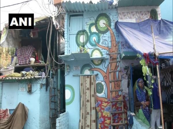 Murals on Jhuggi walls at Raghubir Nagar in New Delhi