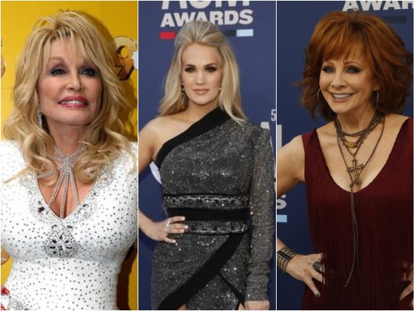 Dolly Parton, Carrie Underwood and Reba McEntire (L to R)