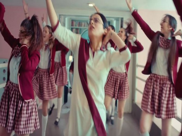 The visuals of the song are set in a school where Radhika Madan can be seen grooving with a bunch of school-uniform clad blondies (Picture Courtesy: YouTube)