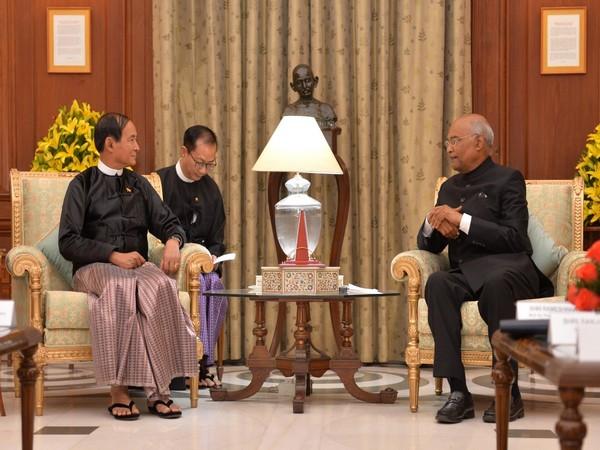 President Ram Nath Kovind with his Myanmarese counterpart U Win Myint at the Rashtrapati Bhavan in New Delhi on Thursday