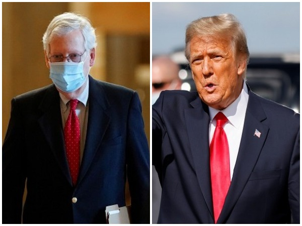 Senate Minority Leader Mitch McConnell and US former President Donald Trump