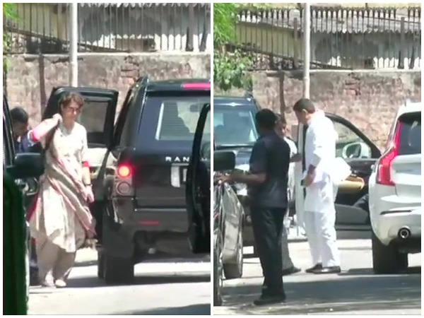 Priyanka Gandhi Vadra, Rajasthan Deputy Chief Minister Sachin Pilot  arrive at the residence of party president Rahul Gandhi in New Delhi on Tuesday. Photo/ANI