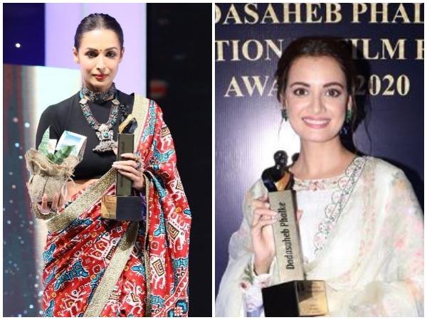 Malaika Arora and Dia Mirza at the Dadasaheb Phalke International Film Festival Awards 2020 in Mumbai on Thursday (Photo source: Instagram)
