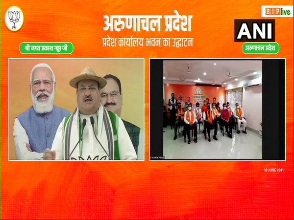 Nadda while inaugurating the party office building of BJP in Arunachal Pradesh through video conference. (Photo/ ANI)