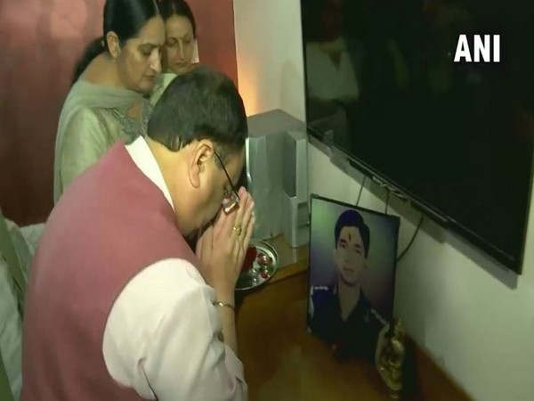 (BJP) Working President Jagat Prakash Nadda met the family of Major Amit Ahuja in Ambala in Haryana on Tuesday. Photo/ANI
