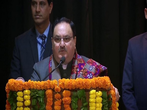 BJP working president JP Nadda addressing a gathering in New Delhi on Sunday. Photo/ANI