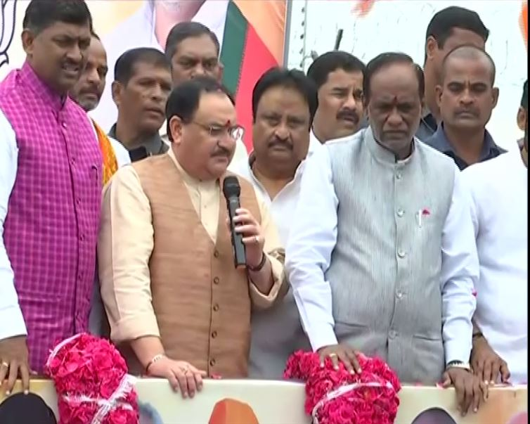 BJP national working president Jagat Prakash Nadda addressing party workers in Hyderabad, Telangana on Sunday.