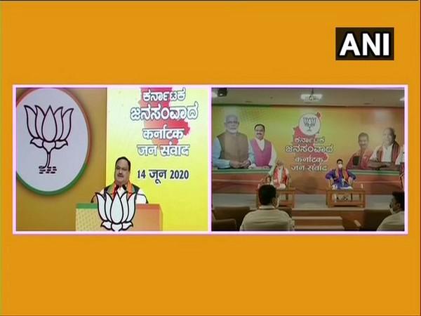BJP president JP Nadda addressing 'Karnataka Jan Samvad Rally' via video conference on Sunday.