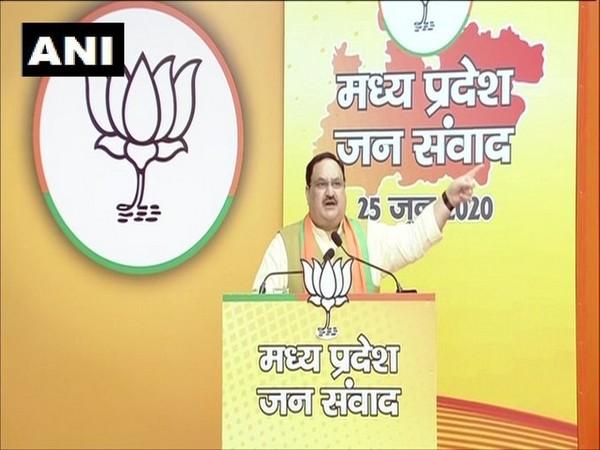 BJP president Jagat Prakash Nadda speaking at the 'Madhya Pradesh Jan Samvad Rally' on Thursday.