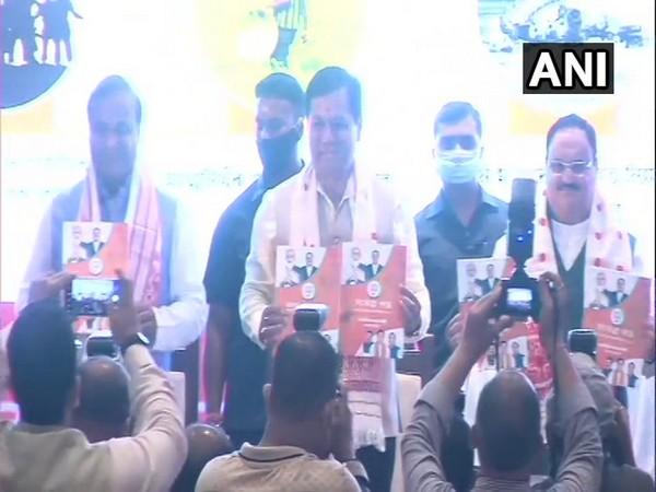 BJP National President JP Nadda releasing manifesto for Assam assembly polls. (Photo/ ANI)