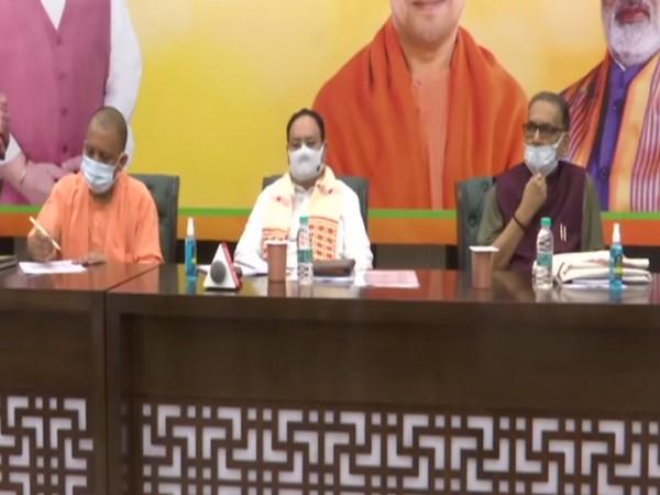 BJP National Chief JP Nadda along with UP Chief Minister Yogi Adityanath during the meeting today. (Photo/ ANI)