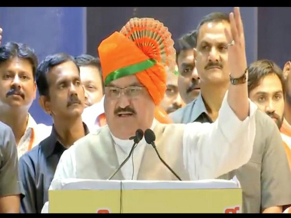 BJP working president J P Nadda addressing a workers' meet in Pune on Monday. Photo/ANI