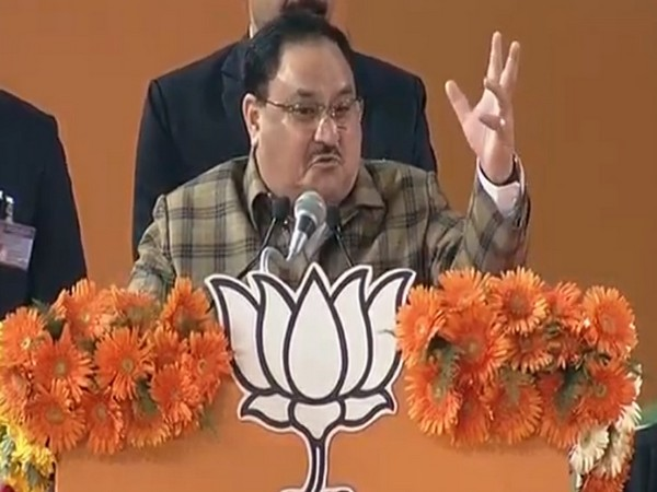 BJP working president JP Nadda addresses a public gathering in New Delhi on Saturday [Photo/ANI]