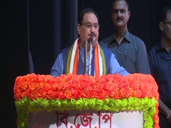 BJP Working President JP Nadda speaking at an event in Kolkata, West Bengal on Friday.