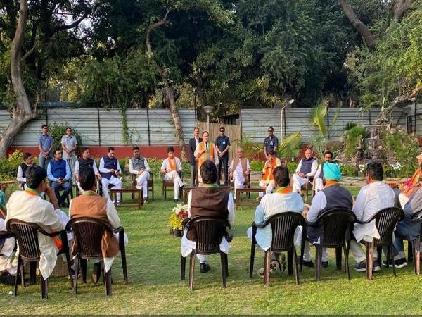 Rebel MP Congress at J P Nadda's residence. Photo/ANI