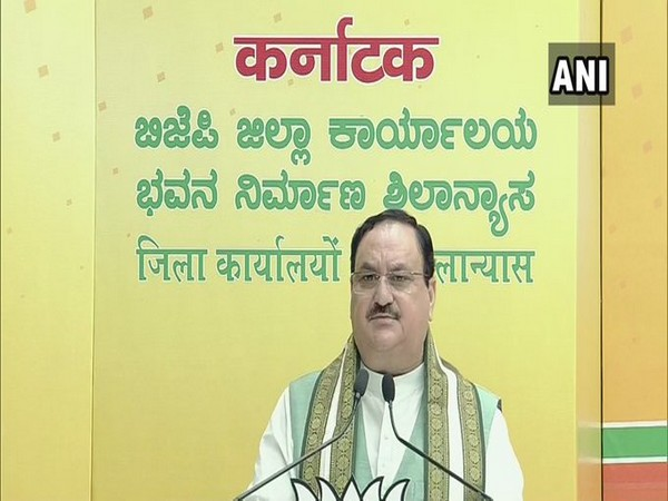 BJP president JP Nadda at 'Bhoomi Pujan' of party district offices in Karnataka via video conferencing. Photo/ANI