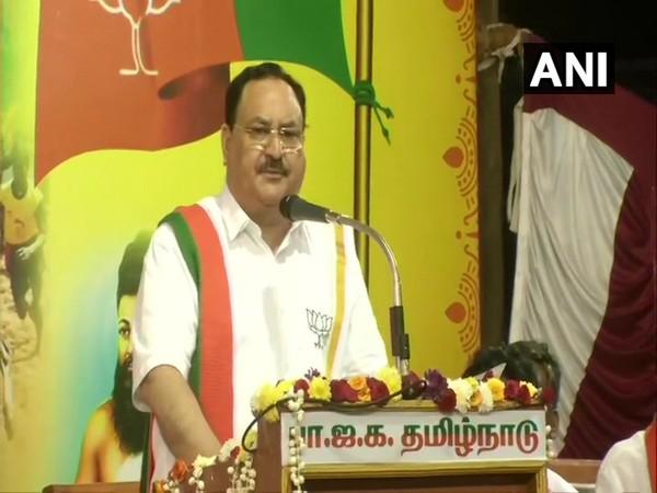 Bharatiya Janata Party (BJP) chief JP Nadda addressing party event in Chennai on Thursday. (Photo/ANI)