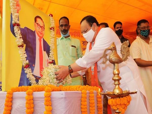 BJP chief JP Nadda paying tribute to BR Ambedkar on his 130th birth anniversary. (Photo/ANI)