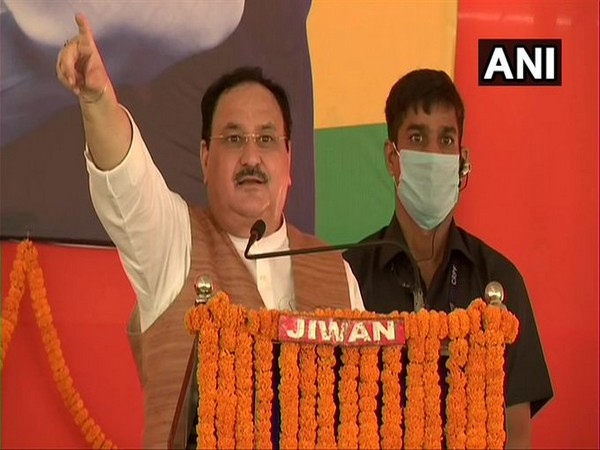 BJP national president J P Nadda addresses a rally in Bihar on Sunday. (Photo/ANI)