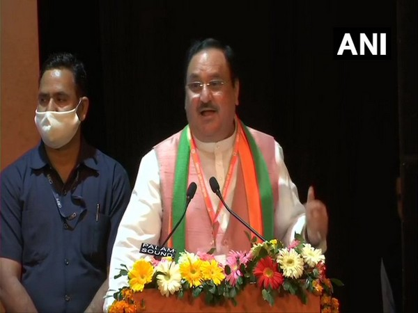 BJP chief chief Jagat Prakash Nadda addressing State Executive Meeting in Jaipur on Tuesday. (Photo/ANI)