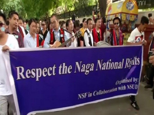 Naga Student Federation holds a rally from Mandi House to Parliament Street. (Photo/ANI)
