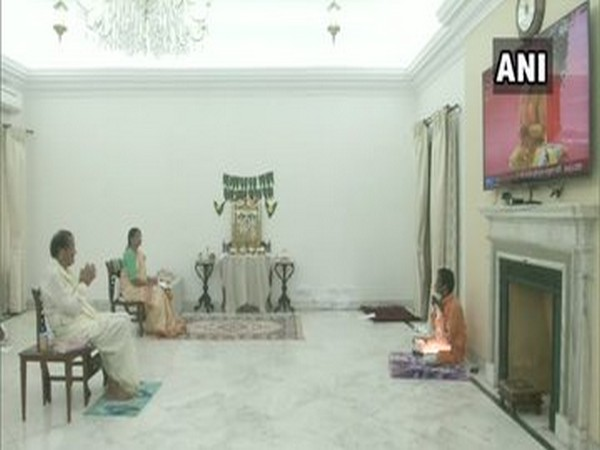 Vice President M Venkaiah Naidu watched the live telecast of 'Bhoomi Pujan' of Ram Temple today and offered prayers with his family at his residence.