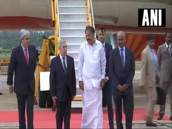 Indian Vice President M Venkaiah Naidu received by Paraguay's Deputy Minister for Foreign Affairs Hugo Saguier Caballero