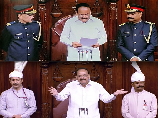 Uniform of the marshals standing beside Rajya Sabha Chairman M.Venkaiah Naidu has been changed from white to blue on the 250th session of Upper House of Parliament, in New Delhi on Monday. (ANI Photo)