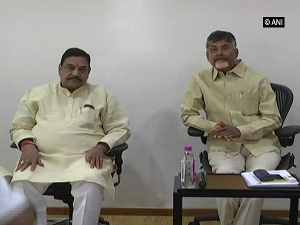 TDP chief Nara Chandrababu Naidu (right) during the party meeting in Amaravati, Andhra Pradesh.