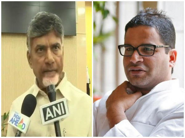 Chief Minister N Chandrababu Naidu, left, and JDU vice president Prashant Kishor