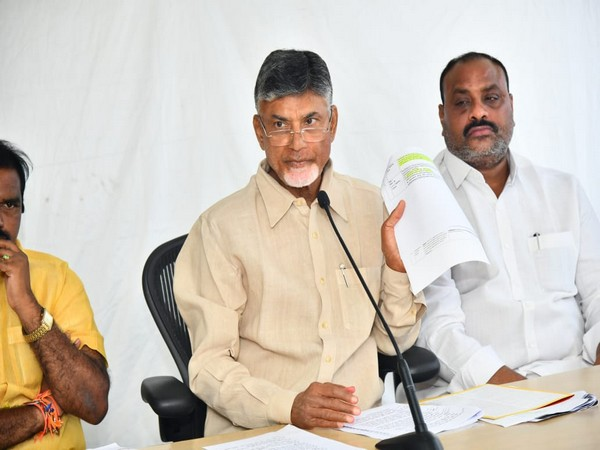 TDP chief N Chandrababu Naidu speaking at a press conference in Amaravati on Friday.