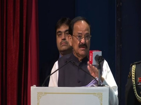 Vice President M Venkaiah Naidu delivering a lecture in New Delhi on Sunday. Photo/ANI