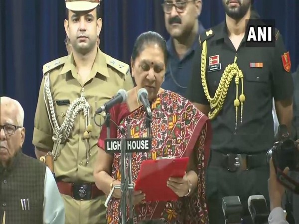 Anandiben Patel taking oath as Governor of Uttar Pradesh in Lucknow.