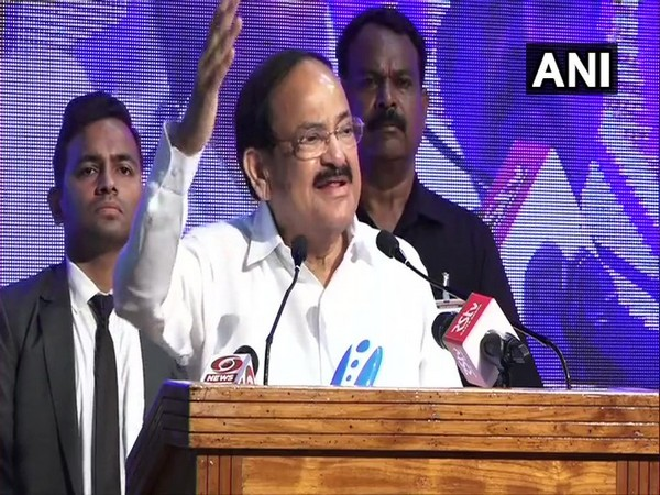 Vice President M Venkaiah Naidu speaking at an event in Vizag on Wednesday. Photo/ANI