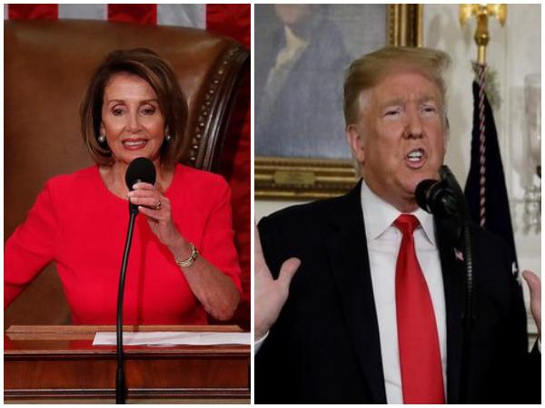 File photos of House Speaker Nancy Pelosi and US President Donald Trump