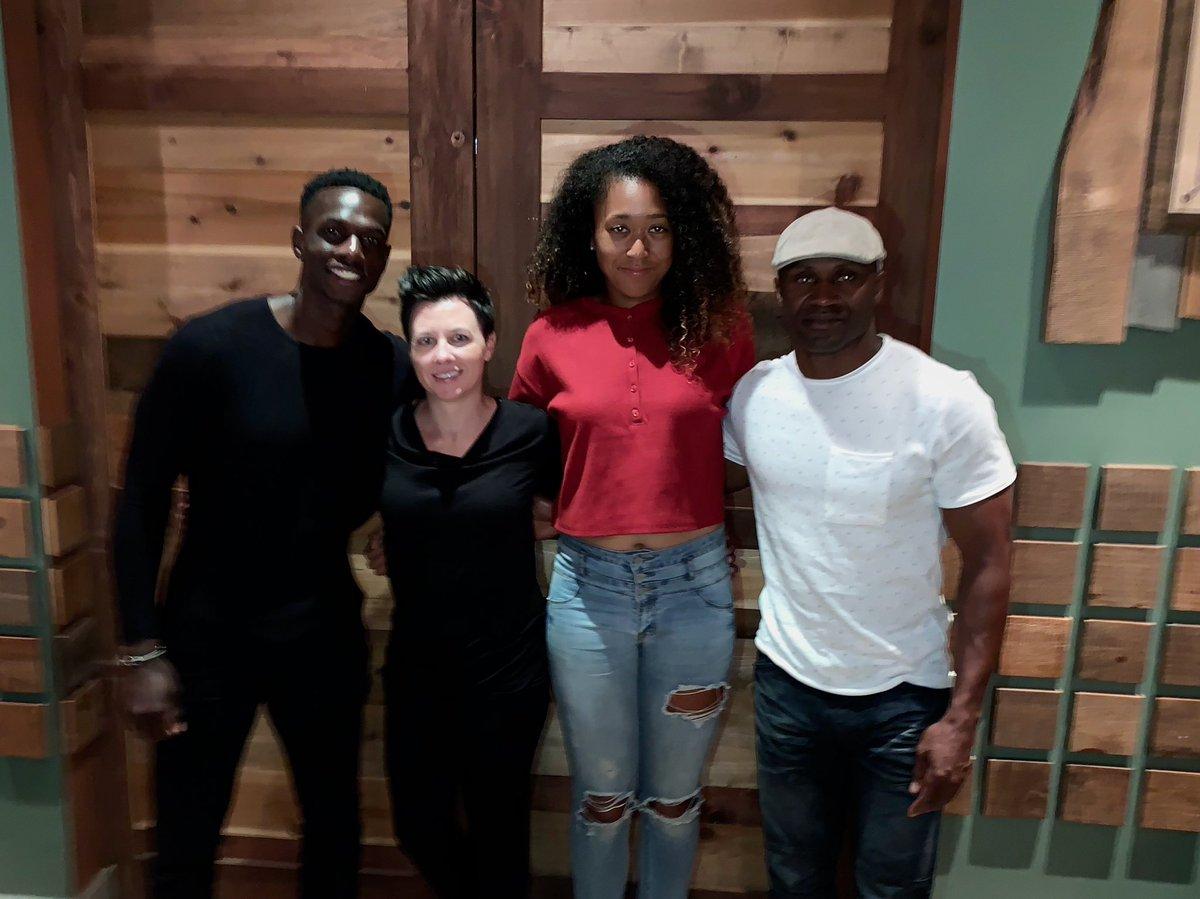 Naomi Osaka (second from right) with Jermaine Jenkins (far left) (Courtesy: Naomi Osaka Twitter)