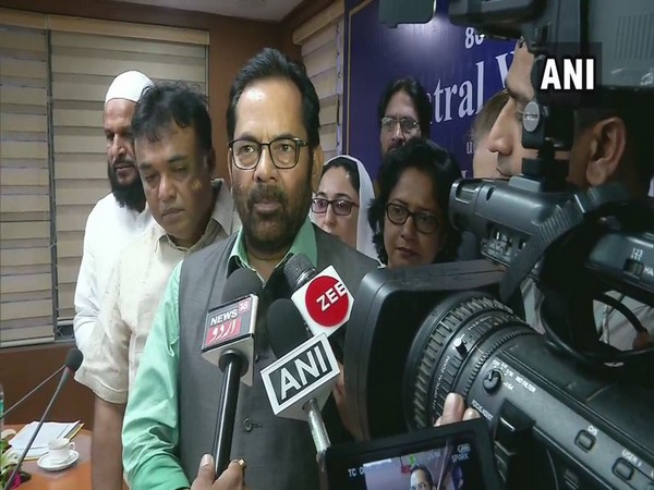 Union Minister for Minority Affairs Mukhtar Abbas Naqvi talking to mediaperson in New Delhi on Wednesday. (Photo/ANI)