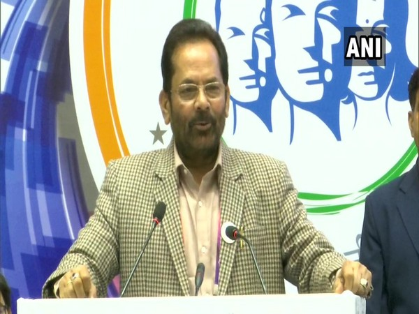 Mukhtar Abbas Naqvi speaking at the event in New Delhi on Saturday.