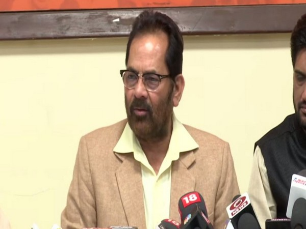 Union Minister for Minorities Mukhtar Abbas Naqvi speaking to reporters in Mumbai on Saturday. Photo/ANI